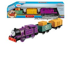 Thomas and Friends Trackmaster Motorized Railway 3 Pack Train Set - RYAN the Purple Tank Engine (CDB75) with 2 Cars and 1 Removable Cargo