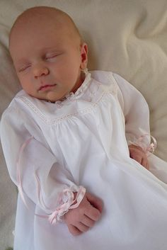 Gown from Swiss batiste, completely handsewn. Pattern by Old Fashioned Baby
