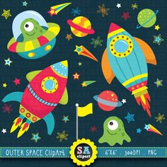 """Outer space clipart:""""OUTER SPACE"""" clip art pack,spaceship,planets,rockets,stars perfect for scrapbooking,invitations,party card Ca003 by SAClipArt on Etsy https://www.etsy.com/uk/listing/192213263/outer-space-clipartouter-space-clip-art"""