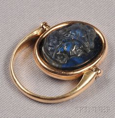Fine Victorian 18ct Gold Bloodstone Seal Ring Stag Hart In