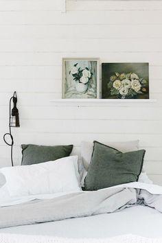 Floral paintings on shiplap bedroom wall Home Decor Bedroom, Bedroom Wall, Master Bedroom, Garden Bedroom, Bedroom Furniture, Bedroom Ideas, Bedroom Simple, Gray Bedroom, Sage Green Bedroom