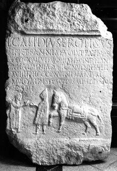 """Roman tombstone of Lucius """"Eroticus"""" Calidius."""