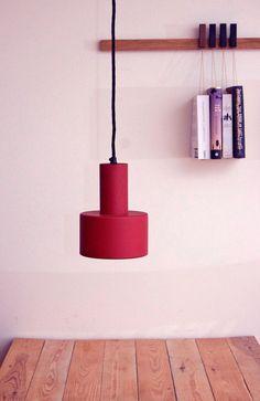 Louis Poulsen red pendants. Danish design lighting. Vintage.
