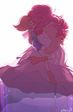 Pearl and Rose Quartz     Steven Universe Fan Art by cheriiart on Tumblr