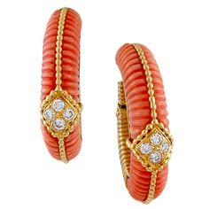 VAN CLEEF & ARPELS Diamond Coral Earrings. Circa 1975.