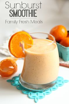 Sunburst Smoothie with carrots, orange juice, mango, pineapple, and not much else. FamilyFreshMeals.com