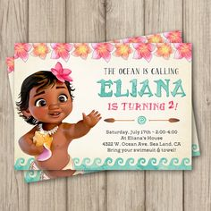MOANA BIRTHDAY INVITATION, Baby Moana Invitation, Baby Moana Birthday Party Invitation, Girl Moana Party, Digital Invitation 5x7 by kimberlyjdesign on Etsy https://www.etsy.com/listing/518389272/moana-birthday-invitation-baby-moana