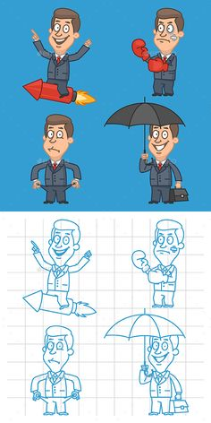 Businessman Part 1: #business #profession #businessman #people #art #caricature #cartoon #characters #charismatic #clip #collection #design #full #graphic #illustration #image #mascot #objects #set #vector