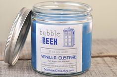 Tardis Blue Soy Candle - Vanilla Custard (fish fingers not included) //Etsy Vanilla Perfume, Tardis Blue, Vanilla Custard, Diy Candles, Scented Candles, House Smells, Geek Gifts, Fragrance Oil, Glass Jars