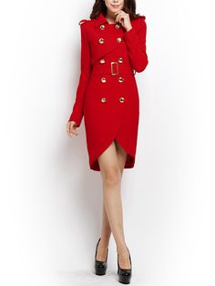 Elegant Women Golden Button Red Slim Double Breasted Trench Coat