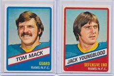 Los Angeles Rams 2 Card Lot 1976 Wonder Bread #10 Tom Mack #14 Jack Youngblood #LosAngelesRams