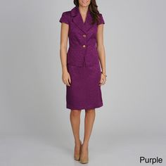 @Overstock - Signature by Larry Levine Women's Short Sleeve 2-button Skirt Suit - Look professional in this perfectly tailored skirt suit from Signature by Larry Levine. This set includes a cap-sleeve top with a dual-button closure, while a fully lined skirt completes this sleek look.    http://www.overstock.com/Clothing-Shoes/Signature-by-Larry-Levine-Womens-Short-Sleeve-2-button-Skirt-Suit/7819047/product.html?CID=214117  $68.99