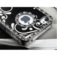 $9.99 Pandamimi Deluxe Black Chrome Bling Crystal Rhinestone Hard Case Skin Cover for Apple iPhone 4 4S 4G With Screen Protector