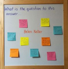 I love this idea! Having the answer on the board and having student come up with a question forces them to think backwards and uses higher level thinking skills. Type of formative assessment! Learning Tips, Teaching Strategies, Teaching Ideas, Learning Techniques, Student Teaching, Teaching Art, School Classroom, Classroom Activities, Classroom Ideas