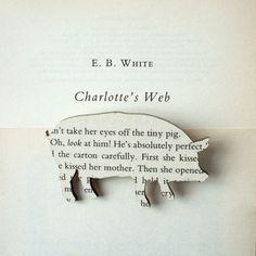 Charlotte's Web book brooches. #book #books #art #book_art #inspiration
