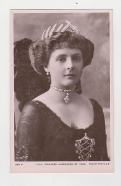 HRH Princess Alice of Albany was a granddaughter of Queen Victoria and Prince Albert. She was the daughter of Prince Leopold, the Duke of Albany, and his Duchess, Princess Helena of Waldeck and Pyrmont. Alice married royally her cousin Prince Alexander of Teck, the brother of Mary of Teck (Queen Mary). Alice was one of those rare women who remain beautiful their entire life.