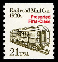 United States - Railroad Mail Car of the on a presorted first-class postage stamp. Office Stamps, Trains, Commemorative Stamps, Old Stamps, Postage Stamp Art, Going Postal, Stamp Collecting, My Stamp, Card Games