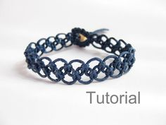 Tutorial macrame bracelet pattern pdf easy navy blue knotted step by step photo instructions makrame tuto beginner instant download jewelry