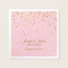 Personalized Blush Pink Rose Gold Confetti Wedding Paper Napkin - elegant gifts gift ideas custom presents Gold Bridal Showers, Bridal Shower Gifts, Bridal Gifts, Wedding Confetti, Gold Confetti, Wedding Napkins, Wedding Invitations, Invites, Napkin Rose