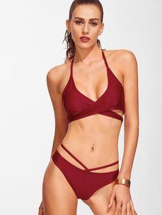 Cross Front Lace-Up Halter Bikini Set