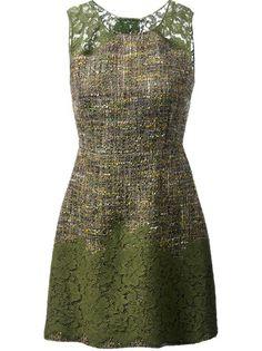 DOLCE and GABBANA Vestido Verde Em Tweed