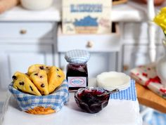 Miniature Blueberry Scones with Blueberry Jam by CuteinMiniature