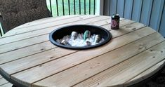 Patio Table With Built In Ice Bucket   --  Made From Pallets