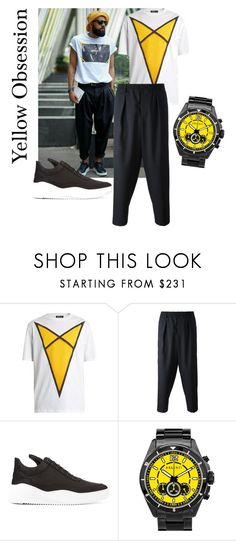 """Yellow Obsession"" by catarina-spinola ❤ liked on Polyvore featuring Raf Simons, Marni, Filling Pieces, Argenti, men's fashion and menswear"