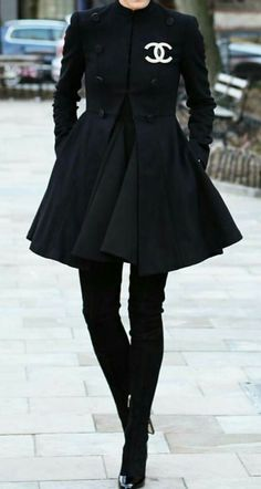 Above-knee boots chanel coat black winter - Chanel Boots - Trending Chanel Boots for sales. - Above-knee boots chanel coat black winter Chanel Fashion Show, Look Fashion, Couture Fashion, Winter Fashion, Fashion Outfits, Fashion Design, Fashion Coat, Chanel Coat, Chanel Outfit