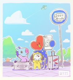 Van is flying high is packed waiting for bus 😀❤❤ Bts Chibi, Fanart Kpop, Bt 21, K Wallpaper, Les Bts, Bts Drawings, Line Friends, Bts Fans, I Love Bts