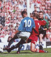 Man City 0 Wrexham 0 in Aug 1998 at Maine Road. Paul Dickov is tackled as he is about to shoot Manchester City, Maine, Football, Sports, Hs Football, Hs Sports, Soccer, American Football, Sport