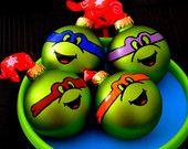 TMNT Ninja Turtle Ornaments - Christmas Gift - Set Of 4 Michelangelo Leonardo Raphael Donatello