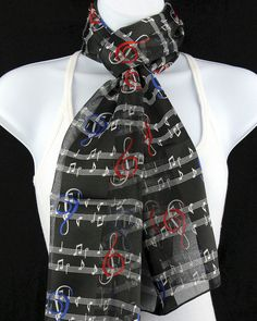 Piano Key Notes Women/'s Scarf Black White Keys Gift Her Scarfs Music Scarves