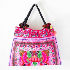 Pink Orchids Hill Tribe Tote Hmong Bag Large Size by Changnoibags