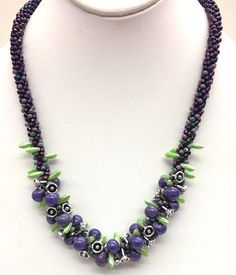 Kumihimo Necklace with Boro Drops by Karen Marean