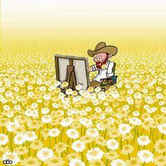 Iranian cartoonist Alireza Karimi Moghaddam celebrates the life and art of Vincent van Gogh in an ongoing webcomic series. Vincent Van Gogh, Creative Illustration, Illustration Art, Comic Illustrations, Desenhos Van Gogh, Van Gogh Arte, Van Gogh Pinturas, Van Gogh Quotes, Art Vintage