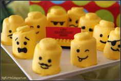 Big K Little G: Surprise Lego Party. Buy jumbo marshmallows, cut large marshmallows for nubbin on head, and make into pops with candy melts and sticks Lego Themed Party, Lego Birthday Party, Boy Birthday Parties, Birthday Ideas, Kid Parties, Birthday Cakes, Happy Birthday, Ninjago Party, Party Time