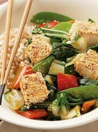 Sesame-Crusted Tofu over Vegetables | KitchenDaily.com