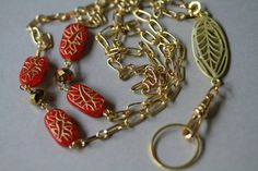Gold Accented Red Glass Bead and Leaf ID/Eyeglass Lanyard