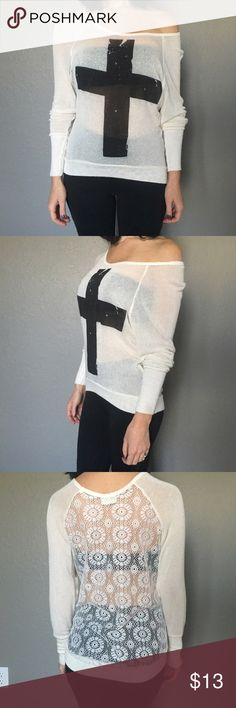 Cross Sweater Lightweight sheer sweater with black cross detail on front and lace back Tops Sweatshirts & Hoodies