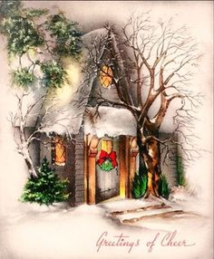 Vintage Christmas Card Image On CD Pretty Doorway Trees Wreath Lights Christmas Card Images, Vintage Christmas Images, Christmas Scenes, Christmas Past, Victorian Christmas, Retro Christmas, Christmas Pictures, Christmas Greetings, Winter Christmas