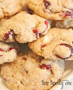 White Chocolate Chip Cranberry Oatmeal Cookies - Two Twenty One