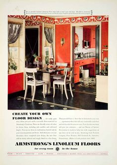 This is an original 1936 color print ad for linoleum flooring that was made and sold by the Armstrong Cork Products Company of 3605 Frederick Street, Lancaster, Pennsylvania (PA). Year: 1936.
