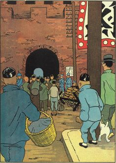 Tintin in China Comics Illustration, Illustrations, Tin Tin Cartoon, Caricatures, Lotus Bleu, Captain Haddock, Herge Tintin, Comic Art, Comic Books