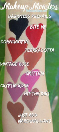 SWATCHES of Makeup Monsters Cosmetics// Vegan & Cruelty Free Liquid Lipstick (Swatch Review Indie Brand Lipsticks)