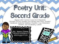 This poetry unit aligned with 2nd grade Common Core standards includes new and improved updates: 1. 26-Day Reading and Writing Unit Plan (Reading lessons cover: alliteration, rhyme scheme, main idea, author's purpose, research, adjectives, adverbs, rhyming, using a rhyming dictionary, rhythm, beats, syllables, and comparing and contrasting.