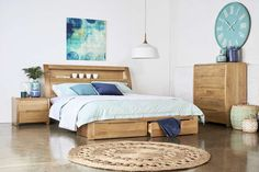 Linden - The very contemporary Linden comes with a warm oak finish and features an abundance of clever storage solutions, under the bed and hidden in the bedhead