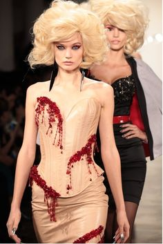 deadthing:    pastelmorgue:    arseniccupcakes:    peachpearl309:    aclockworkpink:    Check out those knife earrings for The Blonds Finale F/W 2013, New York Fashion Week    Help I have fallen in love with this dress    as have i, and i cant get up    HELP    The Blonds can do no wrong