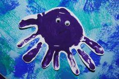 Handprint octopus, crab, fish crafts