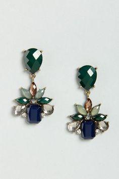 Fancy Facets Green Dangle Earrings at Lulus.com!#lulus #holidaywear